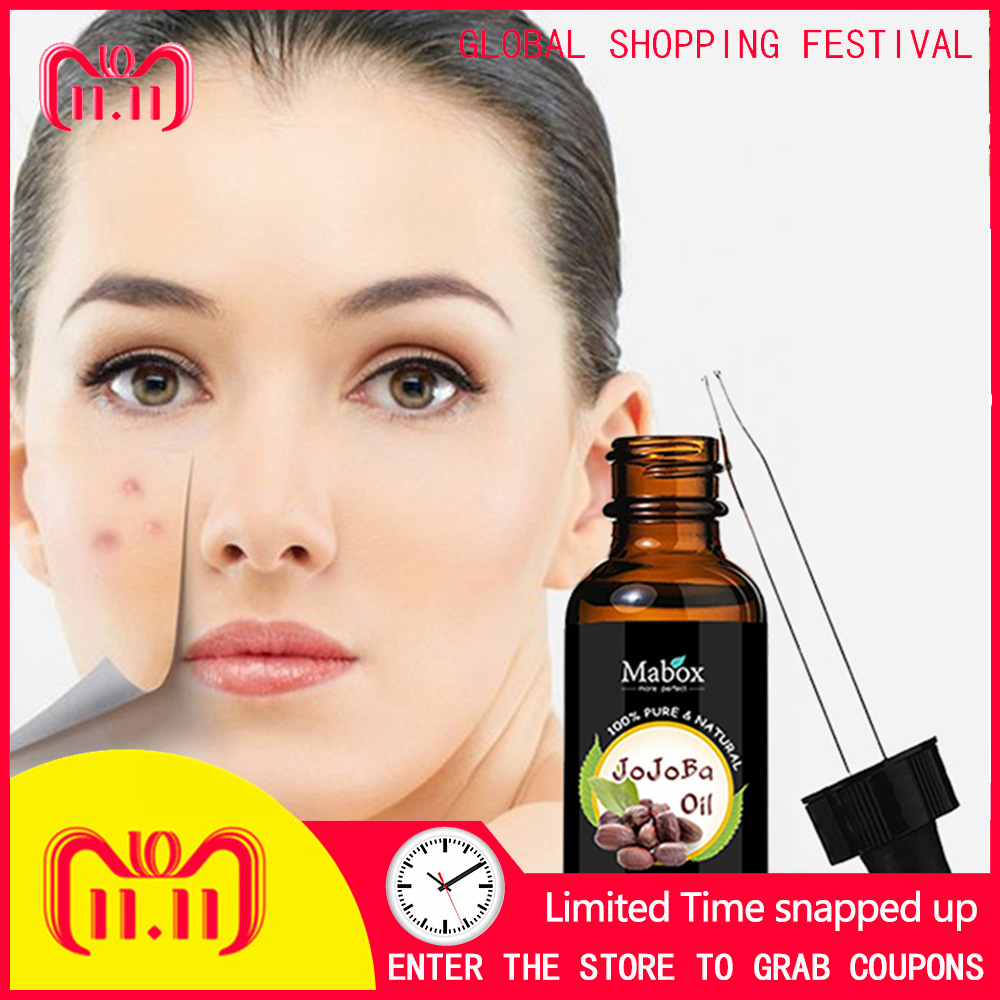 MABOX Use of pure cold pressed natural non-refined moisturizer to coat skin, hair and nails with jojoba oil biotin maximum strength 10000mcg high potency to supports hair growth glowing skin and strong nails vitamin h 100count bottle