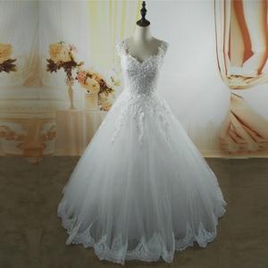 Image 4 - Vestidos de noiva, ZJ9076 C 2019 branco marfim vestidos de casamento 2019 2020 com fundo de renda para vestido de noivas tamanho grande 2 26w w