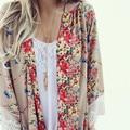 Padrão Floral impresso rendas Kimono Cardigan 2016 moda feminina blusa marca Tops Batwing luva Blusas Femininas