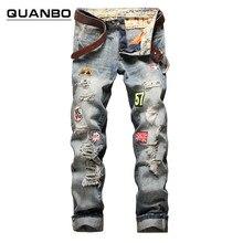 2016 новая мода патч отверстия проблемные джинсы мужские тонкий прямые джинсы дизайнер высокое качество промывали полная длина Горячие Продажа