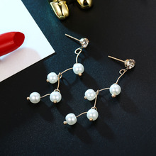 Fashion Pearl Earrings Gold Silver Color Korean Crystal Boucle Doreille Femme 2019 Accesorios Mujer Wholesale