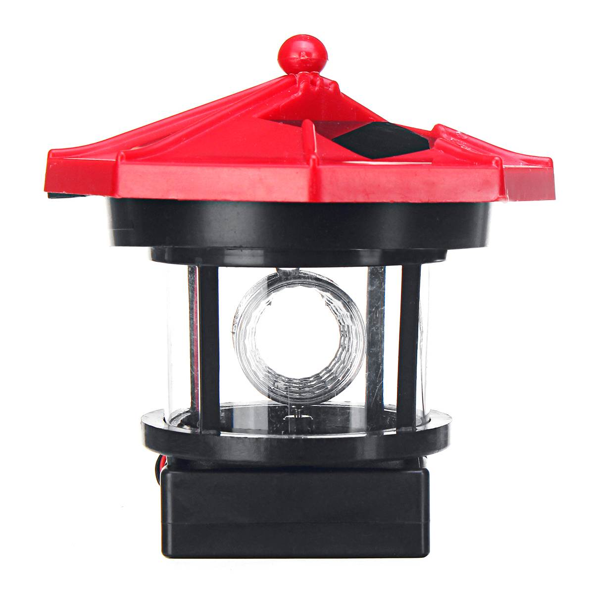 Smuxi LED Solar Powered Resin Lighthouse Statue Rotating Outdoor Garden Yard Lighting Decor Shines In Rotating Motion 9x5x9.9cm