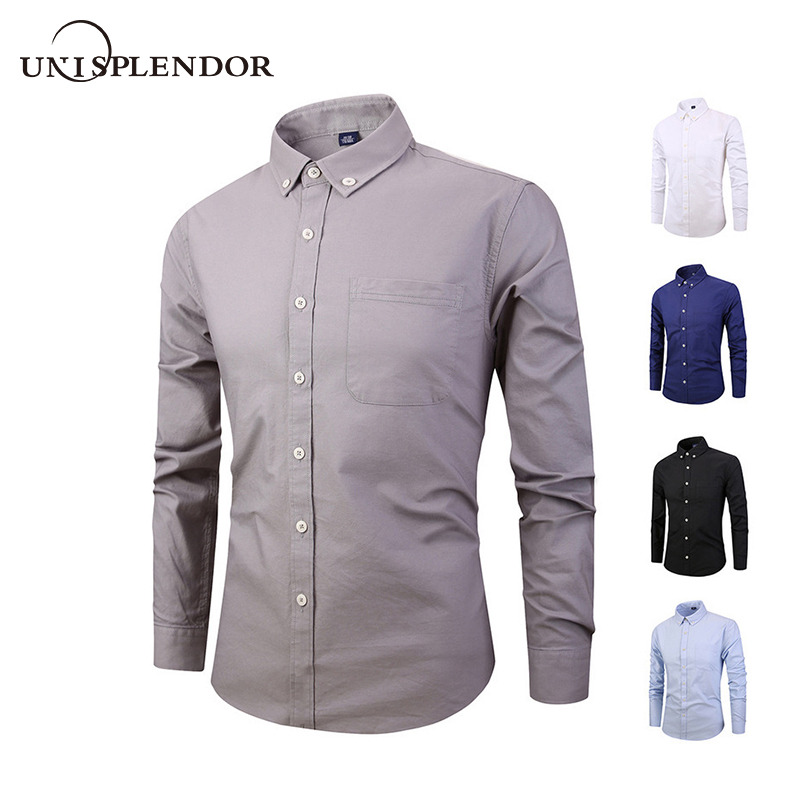 Frank 2019 Business Männer Dress Shirt Solid 100% Baumwolle Mann Shirts Dünne Beiläufige Mode Männer Kleidung Frühling Herbst Männlichen Hemd Yn10429 Herrenbekleidung & Zubehör