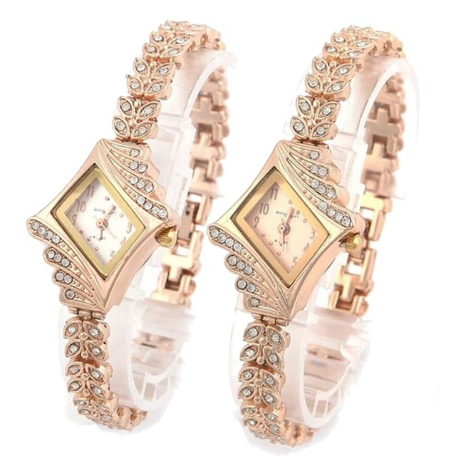 New Fashion Watch Women Crystal Quartz Wristwatches Rhombus Glod Bracelet Watch