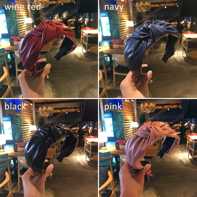 Retro Knotted Headband Handmade PU Leather Bow Hairbands Women Hair Accessories Fur Head Hoop