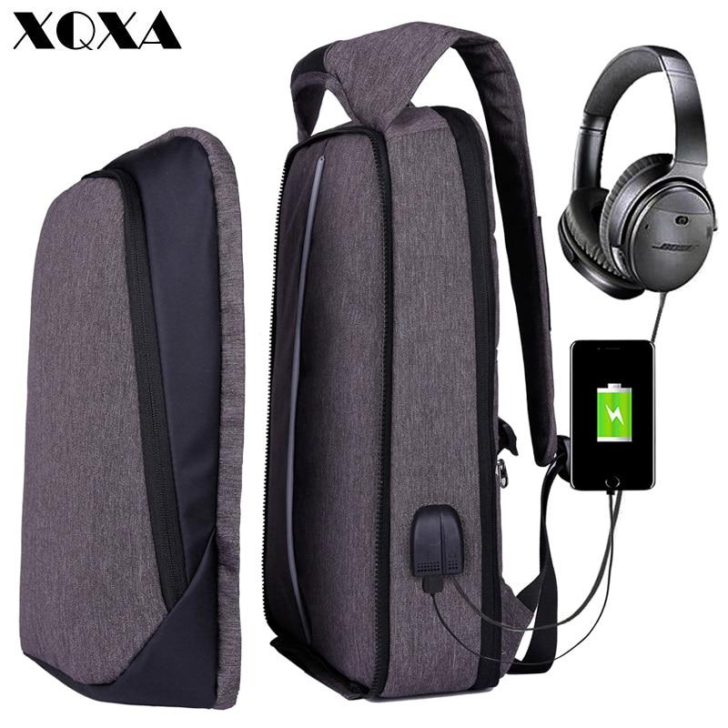 XQXA Men Women Backpack USB Charging Anti Theft Computer Bag Rucksack Water Resistent School Backpack Bag  17.3″ Laptop Backpack