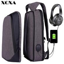 XQXA Backpack Men Women USB Charging Anti Theft Computer Bag Rucksack Water Resistent School  17.3 Laptop