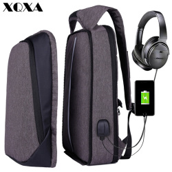 XQXA Backpack Men Women USB Charging Anti Theft Computer Bag Rucksack Water Resistent School Backpack Bag 17.3