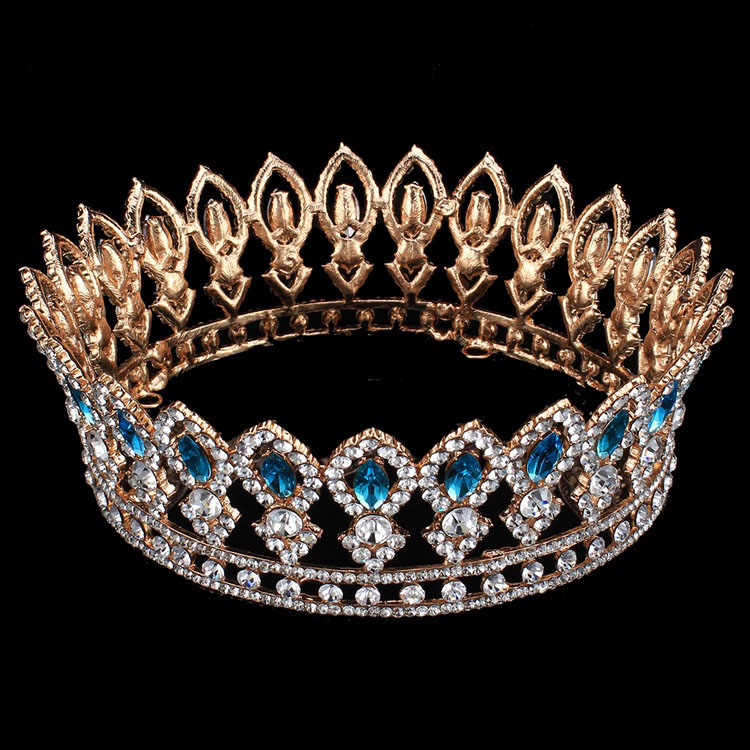 2017 Men King Queen Golden Full Crowns Rhinestone Shinning