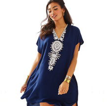 Melflow Blue Boho Printed Dyed Holiday Beach Dress Woman Lace Crochet Cover-Ups Dress Swimwear Kaftan Batwing Swimsuit Cover Up цены