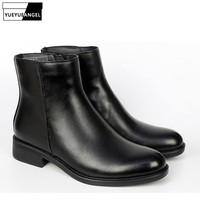 New Zipper Genuine Leather Military Boots Man Real Fur Lining Black Boots Winter Warm Round Toe Fashion Men Casual Shoes