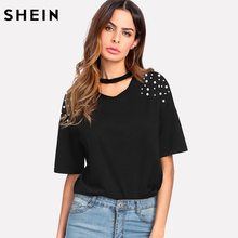 SHEIN Pearl Beaded Choker Neck Tee Casual Women T shirt 2018 Summer Elegant Tops Black Short Sleeve V Neck Cut Out Tee Shirt(China)