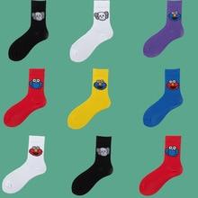 Sesame Street Cartoon Cosplay Socks Elmo Cookie Monster Fashion Novelty Funny Cute Women Sock Autumn Comfortable Cotton