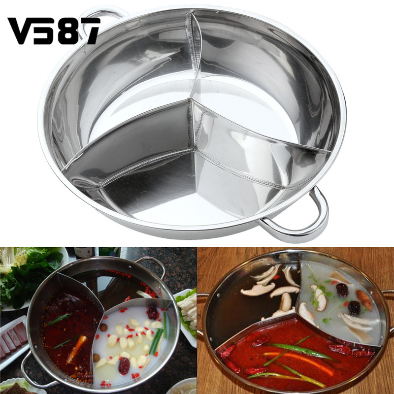 Stainless Steel Hot Pot Three Divided Cookware Induction Little Sheep Pot Hot Pot Ruled Compatible Cooking
