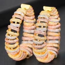 Siscathy Trendy Women Big Hoop Statement Earrings Luxury CZ Twist Mirco Cubic Zircon Earrings indian Dubai Wedding Jewelry цена