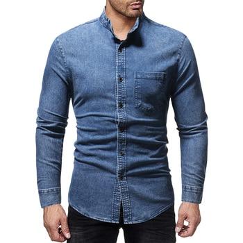 Fashion Streetwear Men Wash Denim Jeans Shirt 2019 Autumn Long Sleeves Shirt Casual Slim Fit Denim Dress Shirts men figure print patched denim shirt