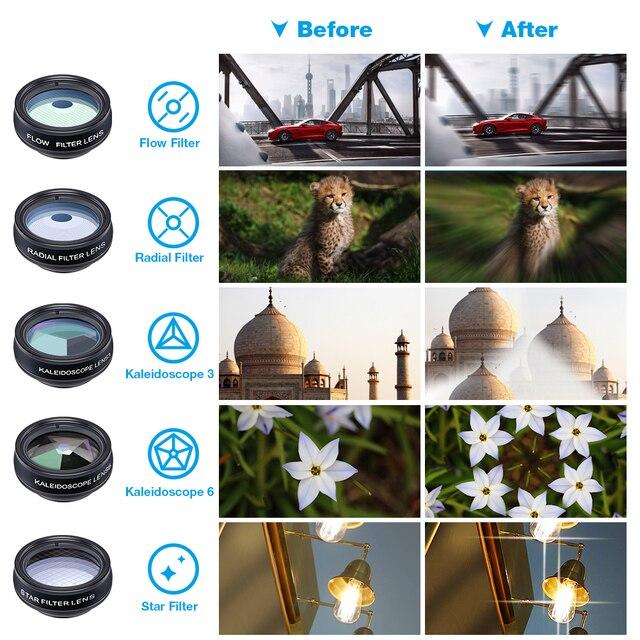 APEXEL Phone lens kit universal 10 in 1 Fisheye Wide Angle macro Lens CPL Filter Kaleidoscope+2X telescope Lens for smartphone 4