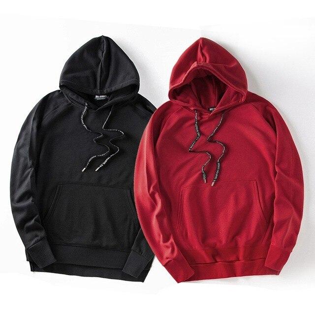 Новый Хип-хоп Балахон Solild ЧЕРНЫЙ Красный Громила Толстовки Уличной Одежды Костюмы Серебряный Стороны Молнии Повседневная Капюшоном