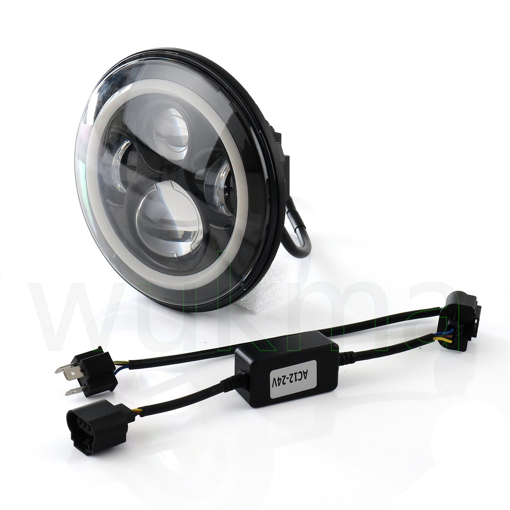 1 Pair Round 7 H4 High/Low Sealed Beam LED Black Headlight H13 upgrade LED Headlamp Replacement for Je ep Rubicon JK