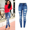 2017 New High Waist Jeans Woman Skinny Ripped Jeans For Women Boyfriend Jeans For Women Stretch Ripped Black Jeans Plus Size P45