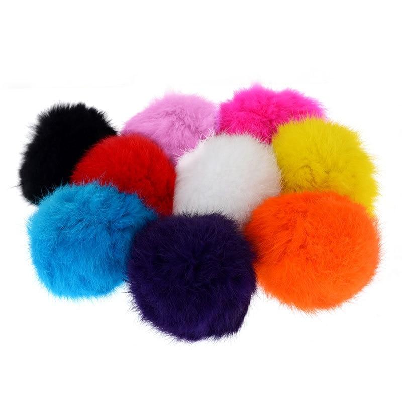 10 pcs/lote multicolore boule de fourrure en peluche porte clés ...