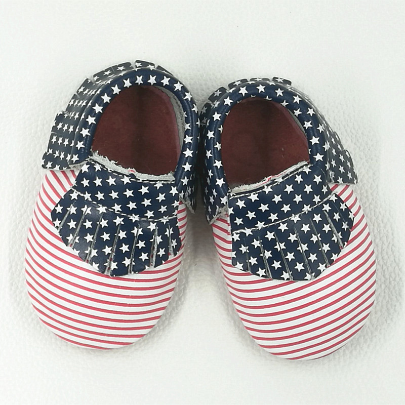 Genuine Leather First Walkers US Flag Baby shoes Mixed Colors Stripe Baby moccasins Fringe stripe boys Shoes Free shipping