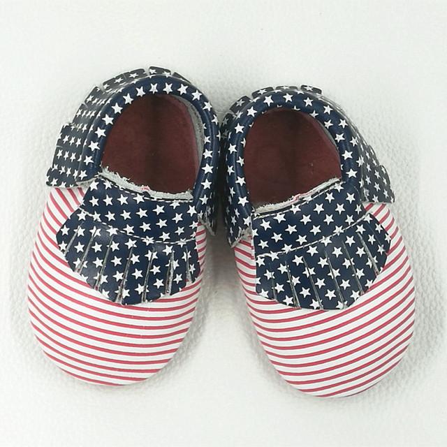 Zapatos de Bebé Primeros Caminante EE. UU. Bandera de Cuero genuino Colores Mezclados de La Raya Bebé mocasines Franja raya de los muchachos Calza El Envío libre