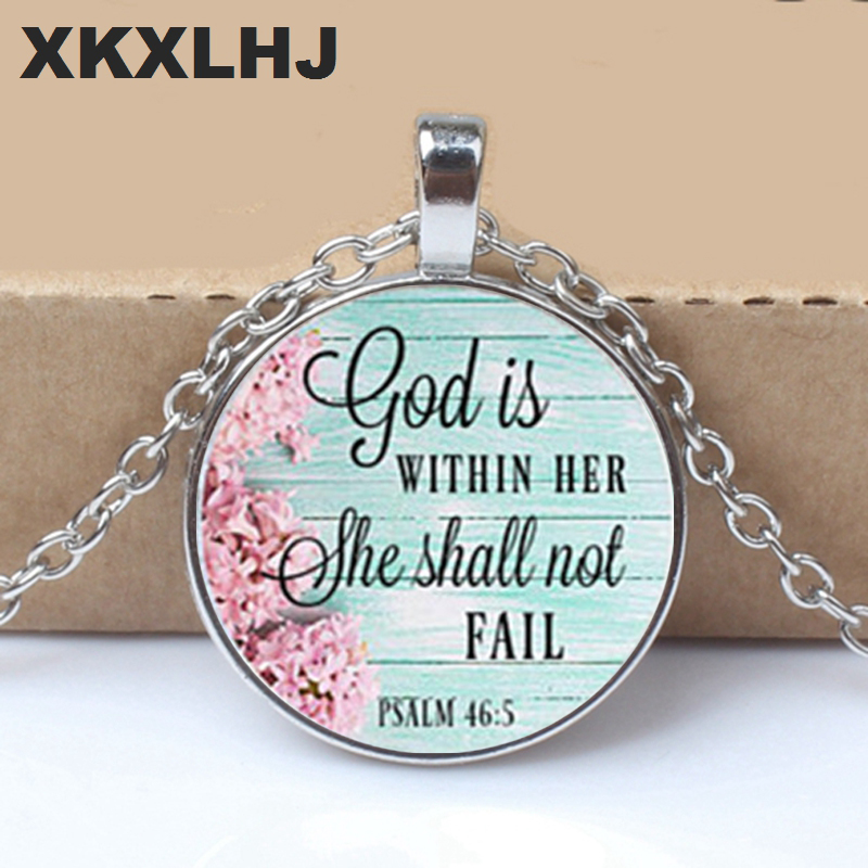 GOD is Within HER NECKLACE,Charm Pendant,gift for Her,Faithful Charm necklace,God within her She Shall not fail,Psalms