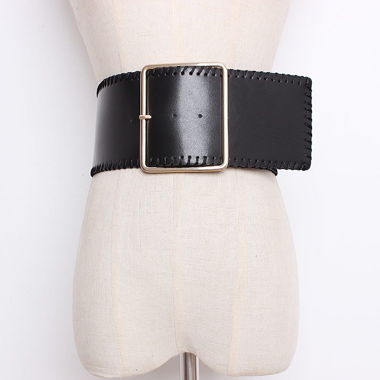 Women's Runway Fashion PU Leather Cummerbunds Female Dress Corsets Waistband Belts Decoration Wide Belt R1364