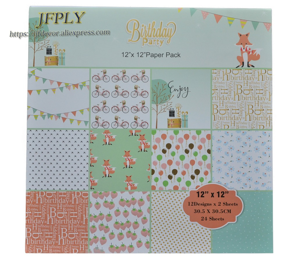 DIY Photo Album Scrapbooking Set Papers Birthday Party Series Craft Paper Background pad Paper Origami 12X 1224Sheets /pack image