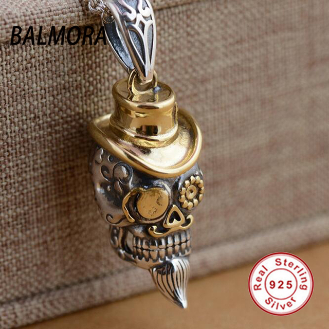 BALMORA 100% Real 925 Sterling Silver Punk Skull with a Hat Pendants for Necklace Men Accessories Fashion Cool Jewelry SY13011