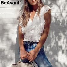 BeAvant Elegant ruffle white blouse women summer V neck embroidery lace cotton blouse shirt Vintage ladies tops shirt blusas