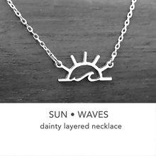 Mar de la onda de agua sol collar con diseño de sol geométrica amanecer atardecer sol collares de paisajes para al aire libre playa surf amante