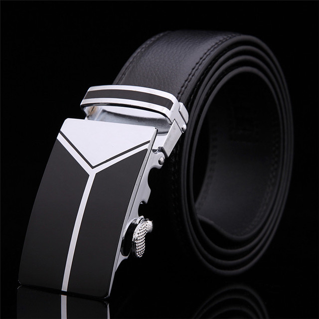 2017 New men's Fashion leather mens black belts for men luxury brand designer belts for male Top quality strap free shipping