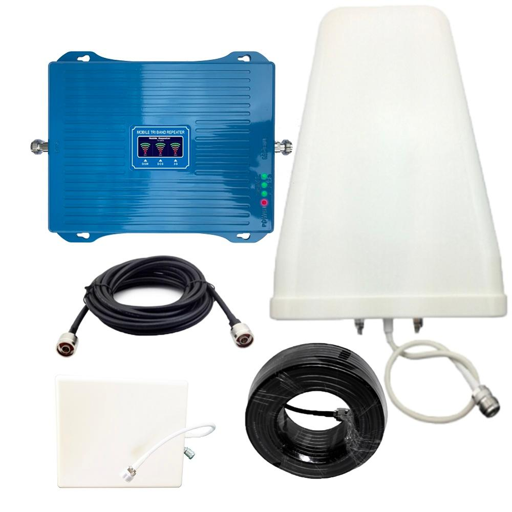 Signal Booster 900 1800 2100 Mhz Mobile Cell Phone Cellular Booster Tri Band Repeater GSM  DCS LTE  WCDMA UMTS  Amplifier