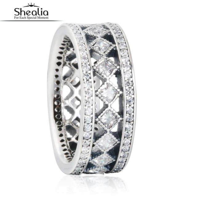 SHEALIA Vintage Fascination Ring With Clear CZ 925 Sterling  Silver Geometric Engagement Rings For Women Fine Jewelry RIP171