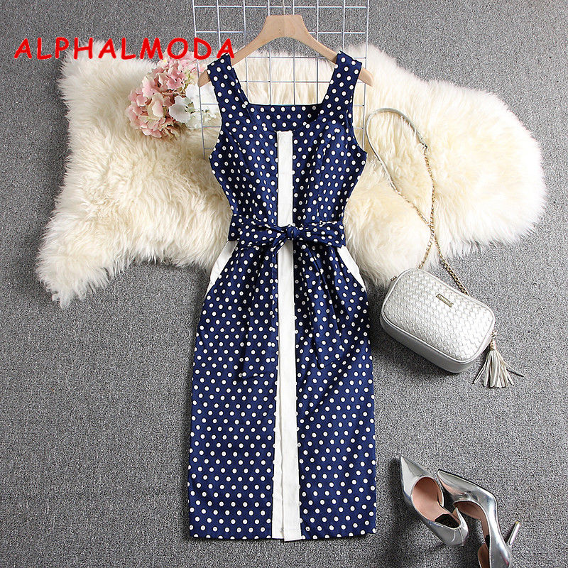ALPHALMODA 2019 New Elegant Dress Sleeveless Uncovered Buttons Slim Fit Sashes Mid-calf Vestidos Women Summer Fashion Dress