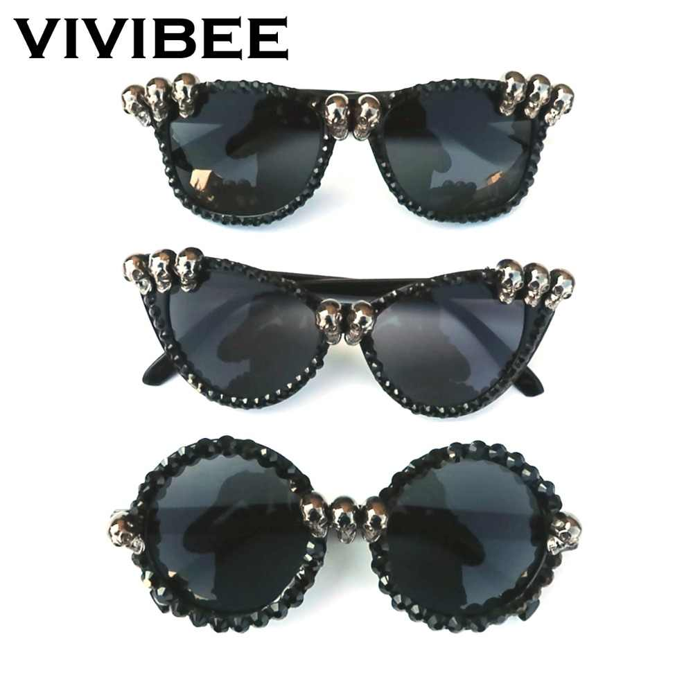 2019 Trend Women Black Skull Rhinestone Sunglasses Gorgeous UV400 Ghost Cat Eye Sun Glasses for Ladies Round Gothic Shades