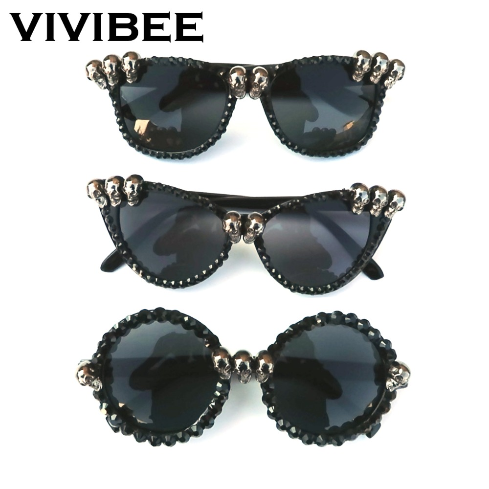 VIVIBEE <font><b>2020</b></font> Trend Women Black Skull Rhinestone Halloween Sunglasses Gorgeous Cat Eye Sun Glasses for Ladies Round Gothic Shades image