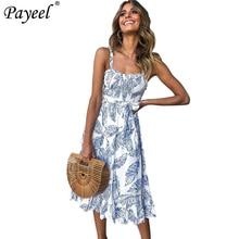 цена на Summer Women Midi Dress 2019 Leaf Printed Vintage Off Shoulder Ruffle Hem Sundress Boho Beach Sexy Backless Ladies Elegant Dress