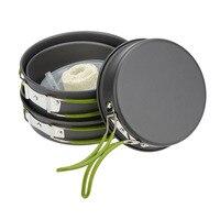 Durable Senior Hard Aluminum Oxide Outdoor Hiking Camping Cookware Cooking Picnic Bowl Pot Pan Set Portable DS 301