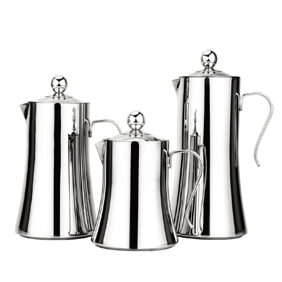 1L/1.2L/1.5L Coffee Maker Stainless Steel French Press Coffee Tea Pot Coffee Maker Pot Percolator Tools Mini Coffee Machine stainless steel vacuum coffee insulation pot