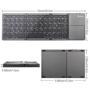 Image 2 - Portable Folding Bluetooth Keyboard Wireless Rechargeable Foldable Klavye Touchpad Keypad for IOS/Android/Windows ipad Tablet