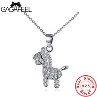 Gagafeel Women Jewelry 925 Sterling Silver Horse Necklaces Genuine Silver Fine Jewelry Crystal Zircon Pendant Necklace