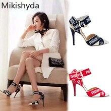 Mikishyda Prom Pumps Schoenen Vrouw Hakken Zwart Summer High Heels Ladies Black Strappy Letter Sandals Pointy Buckle Stiletto