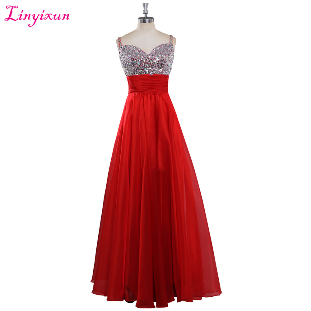 Weddings & Events Linyixun Real Photo Sexy V Neck 2017 Evening Dresses Chiffon Elegant Pleat Sleeveless A Line Long Woman Prom Dresses Custom Made Up-To-Date Styling