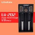 Original Lii-202 LiitoKala Carregador de Bateria Inteligente com Função de Banco de Potência USB para Ni-MH bateria de Iões de Lítio para 18650 14500 10440