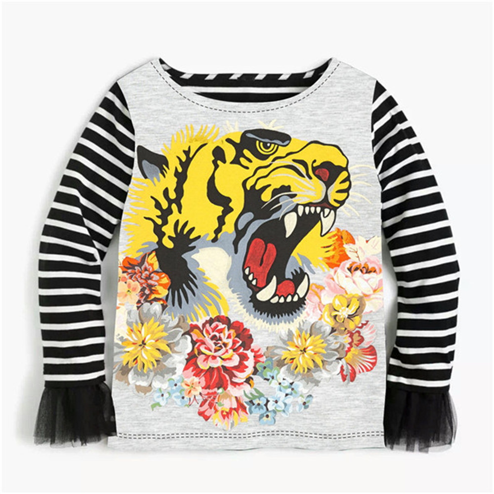 b879a445d 2 10Y Baby Girls Shirt Kids Shirt cartoon Tiger Printed Casual children  Blouse Shirt baby Clothes stripe with long sleeves-in Blouses   Shirts from  Mother ...