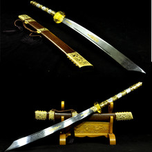 Full Hand Forge Folded Steel Tang Blade Real Chinese Dao Sword Sharpened