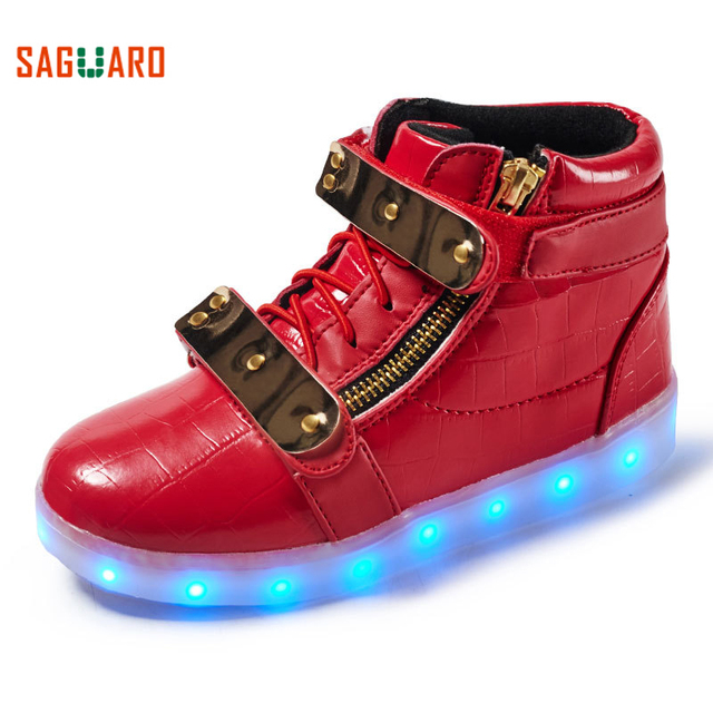 SAGUARO New Children High Top Luminous Shoes For Boys Girls LED Light Up Sneaker Outdoor Running Glowing Sneakers